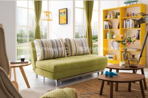 Những chiếc sofa giường thông minh màu xanh đáng yêu sẽ là điểm nhấn tuyệt vời cho phòng khách của bạn