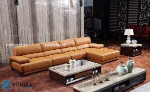 Ghế sofa góc nhập khẩu tựa lưng da cao cấp