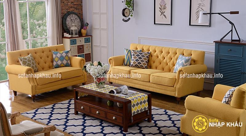 Ghế sofa tân cổ điển Châu Âu màu vàng trẻ trung, ấn tượng