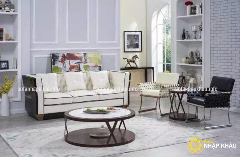 Mẫu ghế sofa da màu đen - trắng kiểu dáng tân cổ điển sang trọng và quý phái