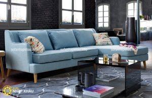 Sofa góc phòng khách hiện đại với màu xanh pastel nhã nhặn